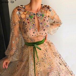 Image 3 - Золотые прозрачные сексуальные вечерние платья с длинным рукавом, роскошные модные вечерние платья с блестками и стразами, 2020 реальное фото LA6601