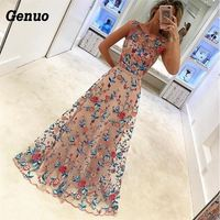 Genuo Women Flower Embroidery Maxi Dress Long Evening Party Dress Beach Dress Sundress White Elegant Lady Tulle Dresses Clothes