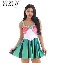 6684942831a Las mujeres marinero escuela Cosplay traje U-Cuello sin mangas impreso una  línea de falda elástica Mini vestido elegante adultos.