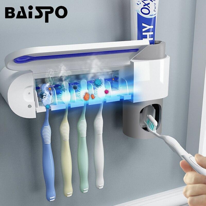 2 in 1 UV แสงอัลตราไวโอเลตแปรงสีฟันผู้ถือแปรงสีฟันยาสีฟันอัตโนมัติ Squeezers Dispenser Home ชุดห้องน้ำ