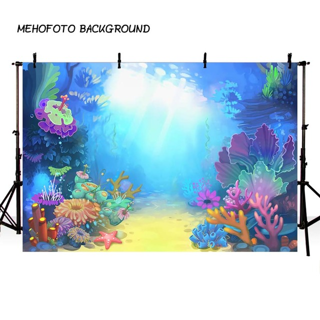 MEHOFOTO Mermaid Theme Party Decorate Photo Backdrop Birthday Sea World Photography Background for Pictures