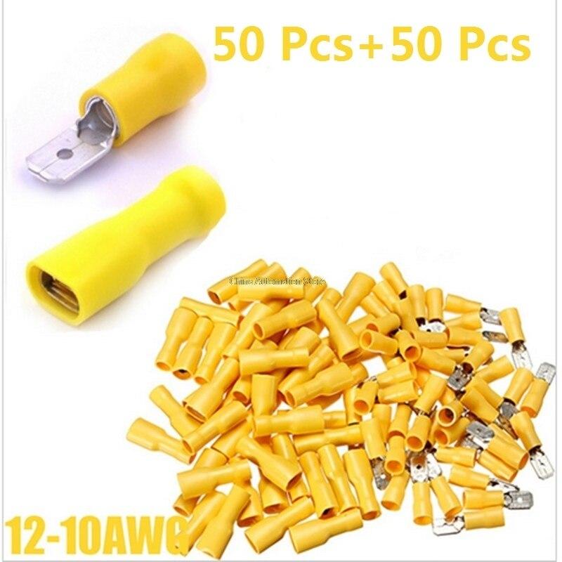 50pcs 12-10AWG Terminal de crimpado Aislado macho de 6,3 mm Conector Amarillo