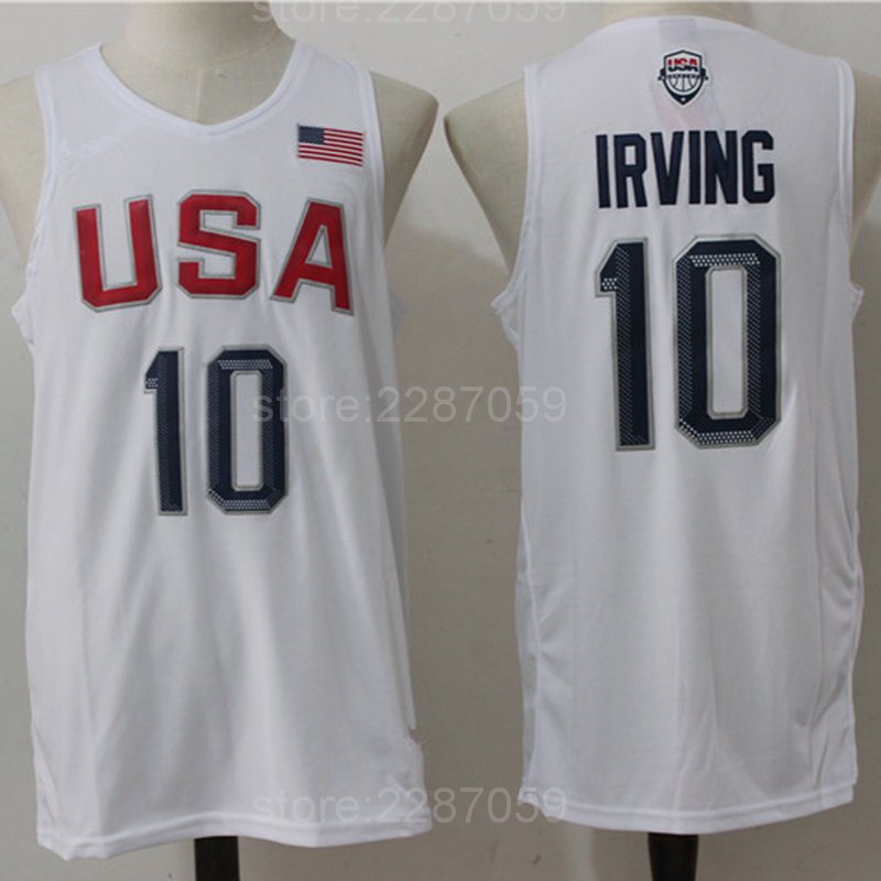 цена на Ediwallen Discount 10 Kyrie Irving 2016 USA Basketball Jerseys Dream Twelve Team Irving Jersey Navy Blue White Embroidery Cheap