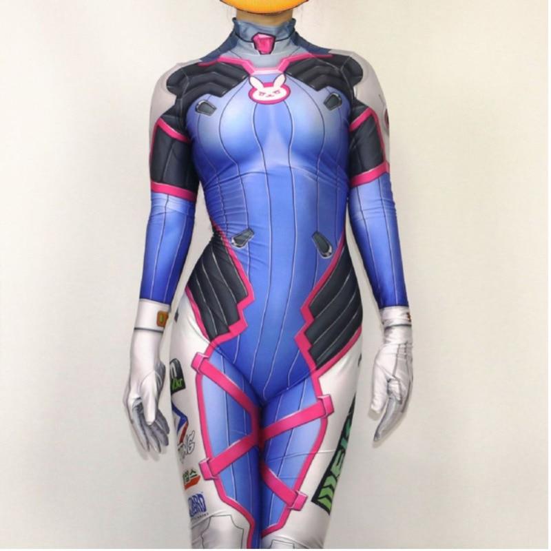 Image 2 - D.va Cosplay Costume Dva Suit Spandex Lycra Zentai Bodysuit Woman Grils One Piece Full Body Unitard Halloween Party Costumes