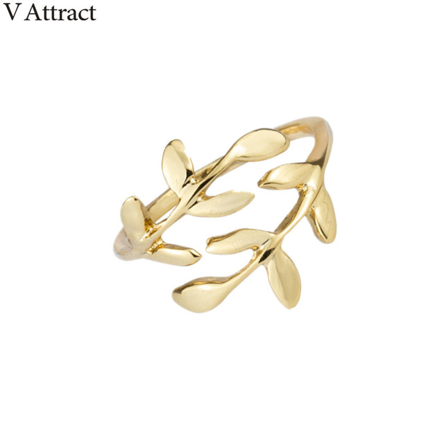 V Attract Vintage Rose Gold Bague Femme 2018 Bridesmaid Gift Silver Double Leaf