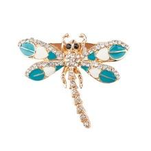 Women's Dragonfly Korean Zinc Alloy Trendy Rhinestone Circle Brooch spille donna badge Accessory