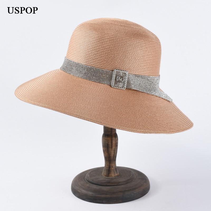 USPOP 2019 Sun hats for women luxury diamond letter M straw hats fashion wide brim summer hats diamond belt decoration beach hat in Women 39 s Sun Hats from Apparel Accessories