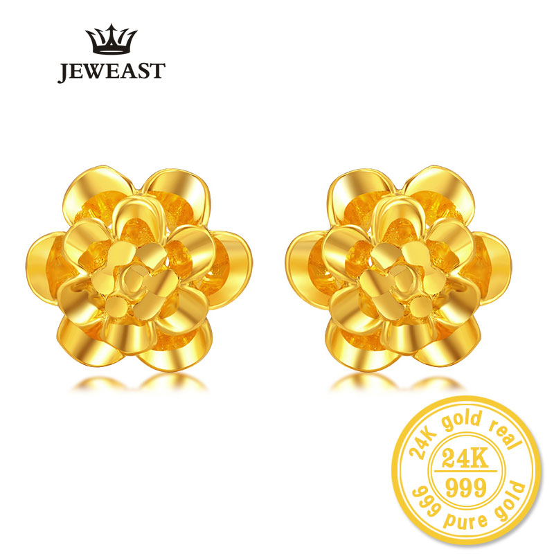 ZZZ 24kPure Gold Flower Shape Stud Earrings Exquisite Hollow Style Beautiful Highlight The Literary Style 999Solid Gold A Pair цены онлайн