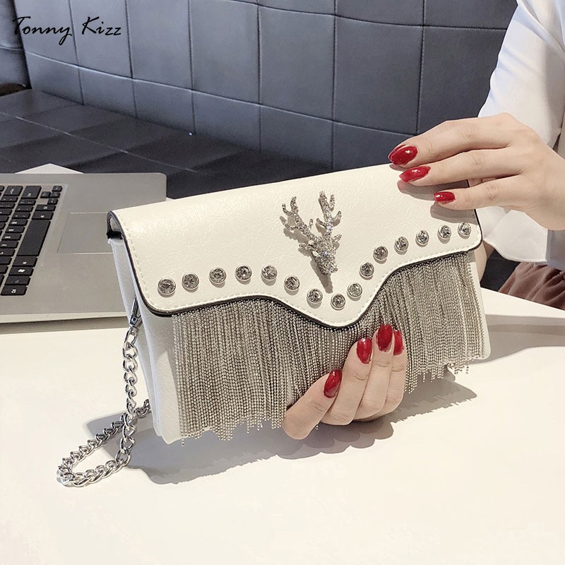 Tonny Kizz party evening clutch bags for women clutches envelope lady shoulder with diamonds and tassel messenger