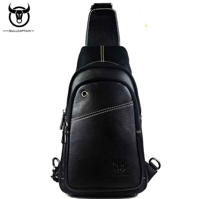e1b6beddf117 BULL CAPTAIN Fashion Genuine Leather Crossbody Bags men Brand Small Male  Shoulder Bag trend music chest bags messenger bag