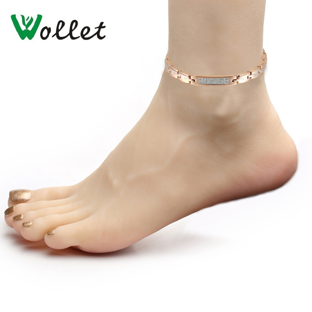 Wollet Body Jewelry Stainless Steel Anklets Women Men Silver Rose Gold Color All Magnets CZ Stone Healthy Energy Pain Relief