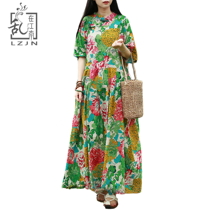401499340f LZJN Plus Size Summer Maxi Dress Long Women Dresses Half Sleeve Mandarin  Collar Mori Girl Vintage