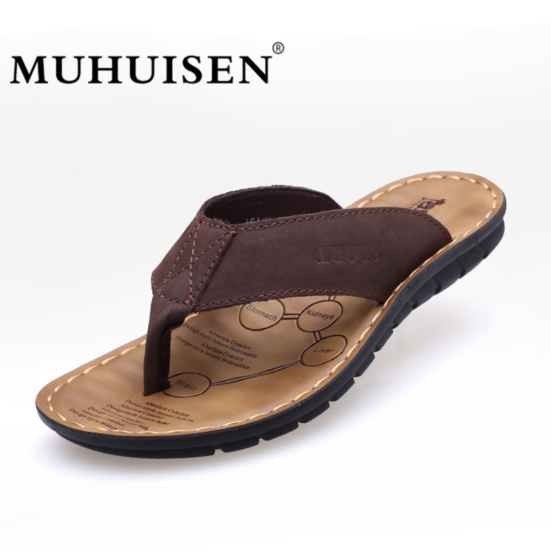 MUHUISEN 2018 New Summer Beach Flip Flops Men Genuine Cow Leather Slippers Male Flats Sandals Outdoor Zapatos Hombre