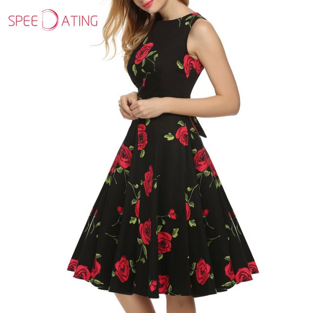 fc51ef4450 New Come Round Neck Bowknot Floral Printed Vintage Skater Dresses Knee  Length Sleeveless Formal Flared Dress Summer SPEEDATING