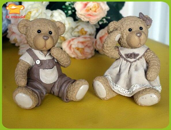 Classique ours en peluche Silicone moule Vintage bougie savon plâtre céramique rustique décor à la maison anniversaire décoration Silicone outils