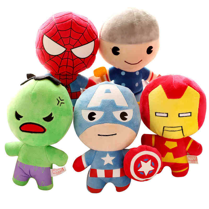 Cute Version Marvel's The Avengers 22-25cm high quality kawaii plush doll soft toys for kids stuffed toys birthday gift 38cm plush whales toys with soft pp cotton creative stuffed animal dolls cute whales toys fish birthday gift for children