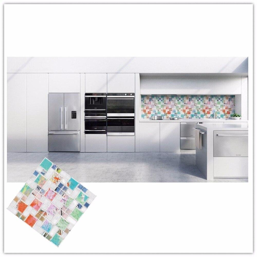 Backsplash tile porcelain mosaics bathroom wall stickers hs0037 - Self Adhesive Mosaic Tile Wall Sticker Diy Kitchen Bathroom Backsplash Home Decor Vinyl H China