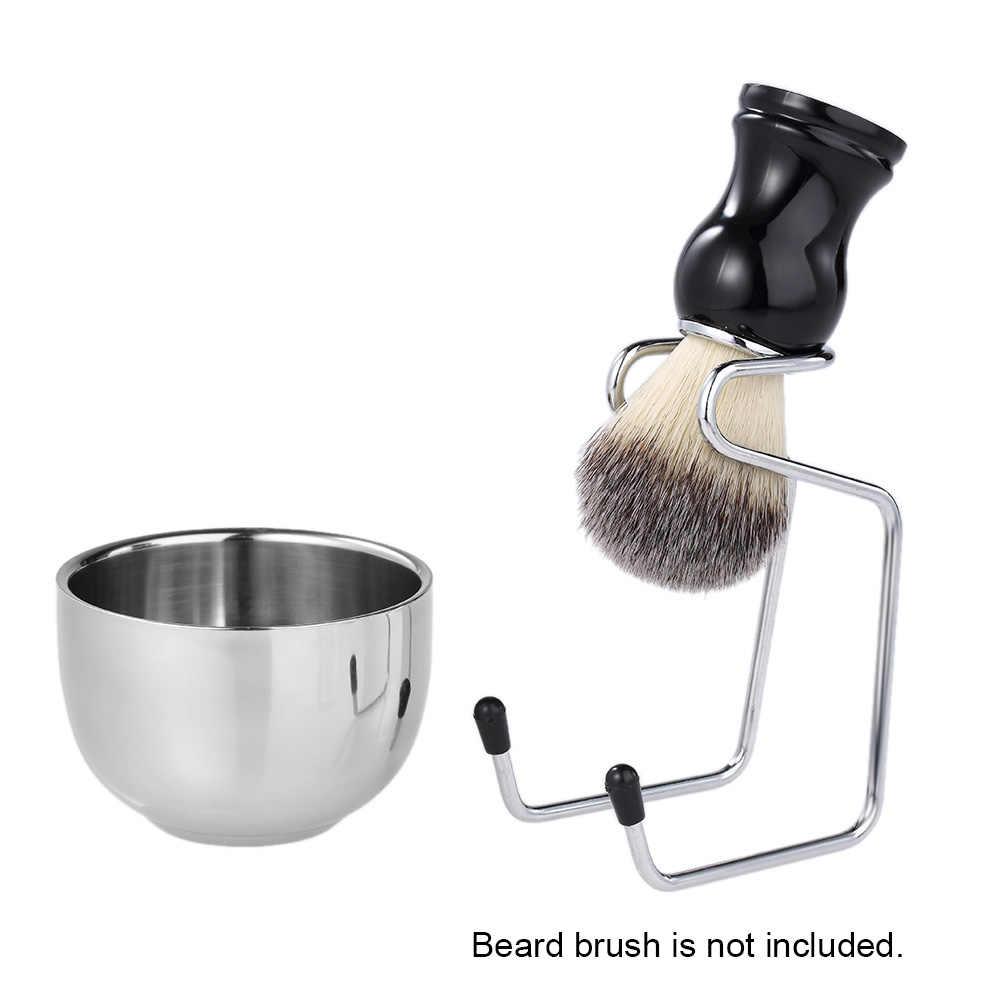 2 w 1 zestaw do golenia do golenia ze stali nierdzewnej golarka męska zestaw do golenia uchwyt na szczotkę + mydło Bowl mężczyzna broda narzędzia do czyszczenia