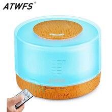Atwfs umidificador de ar para aromaterapia, 500ml, controle remoto, ultrassônico, produz névoa, difusor de aroma óleo essencial, 7 cores, led