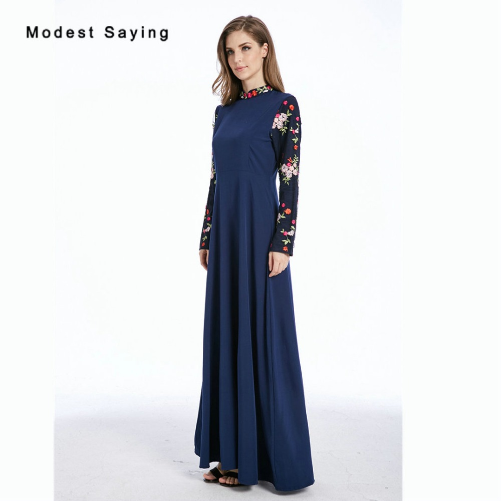 Vintage Navy Blue Muslim Embroidery Evening Dresses 2018 Long Sleeve Evening Gown Ankle-Length Party Prom Gown vestidos de festa gown