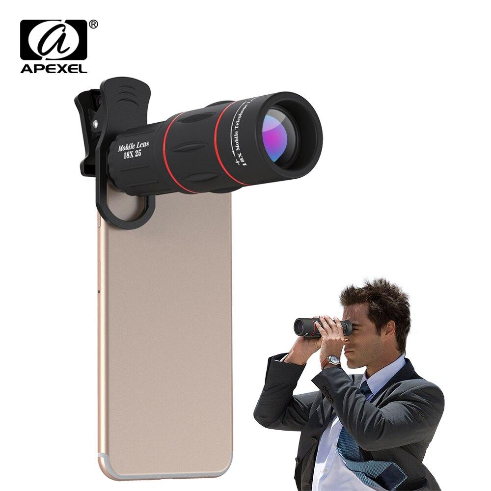 APEXEL téléphone caméra 18X Télescope téléobjectif 18x25 Monoculaire pour iPhone Samsung android ios smartphones