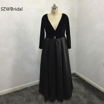 New Arrival 2020 Long sleeve Evening dresses V Neck Black Evening gowns Plus size abendkleider abiye abendkleid Evening dress