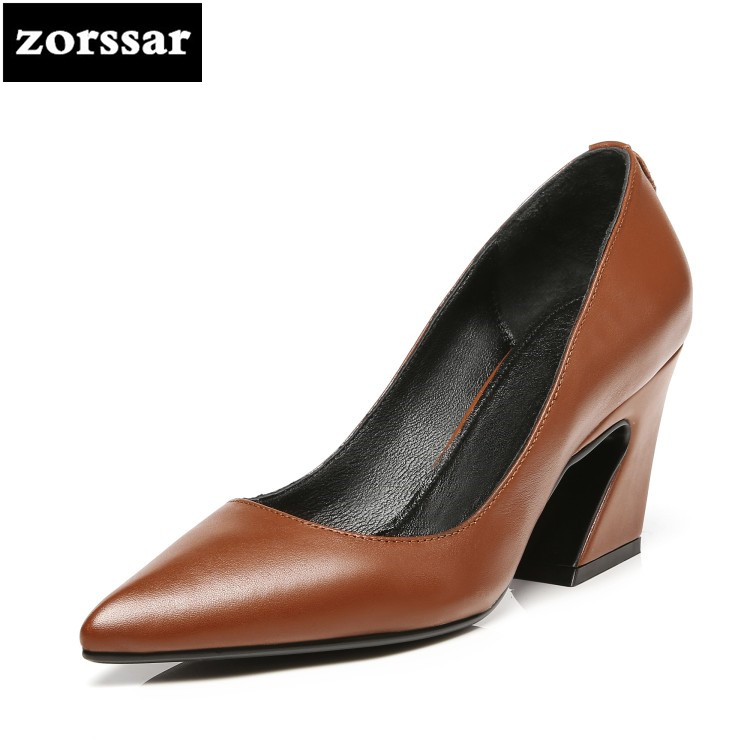 {Zorssar} 2018 NEW black womens Business work shoes High Heels Pointed toe Shallow Single shoes Fashion women shoes big size 43 new 2017 spring summer women shoes pointed toe high quality brand fashion womens flats ladies plus size 41 sweet flock t179