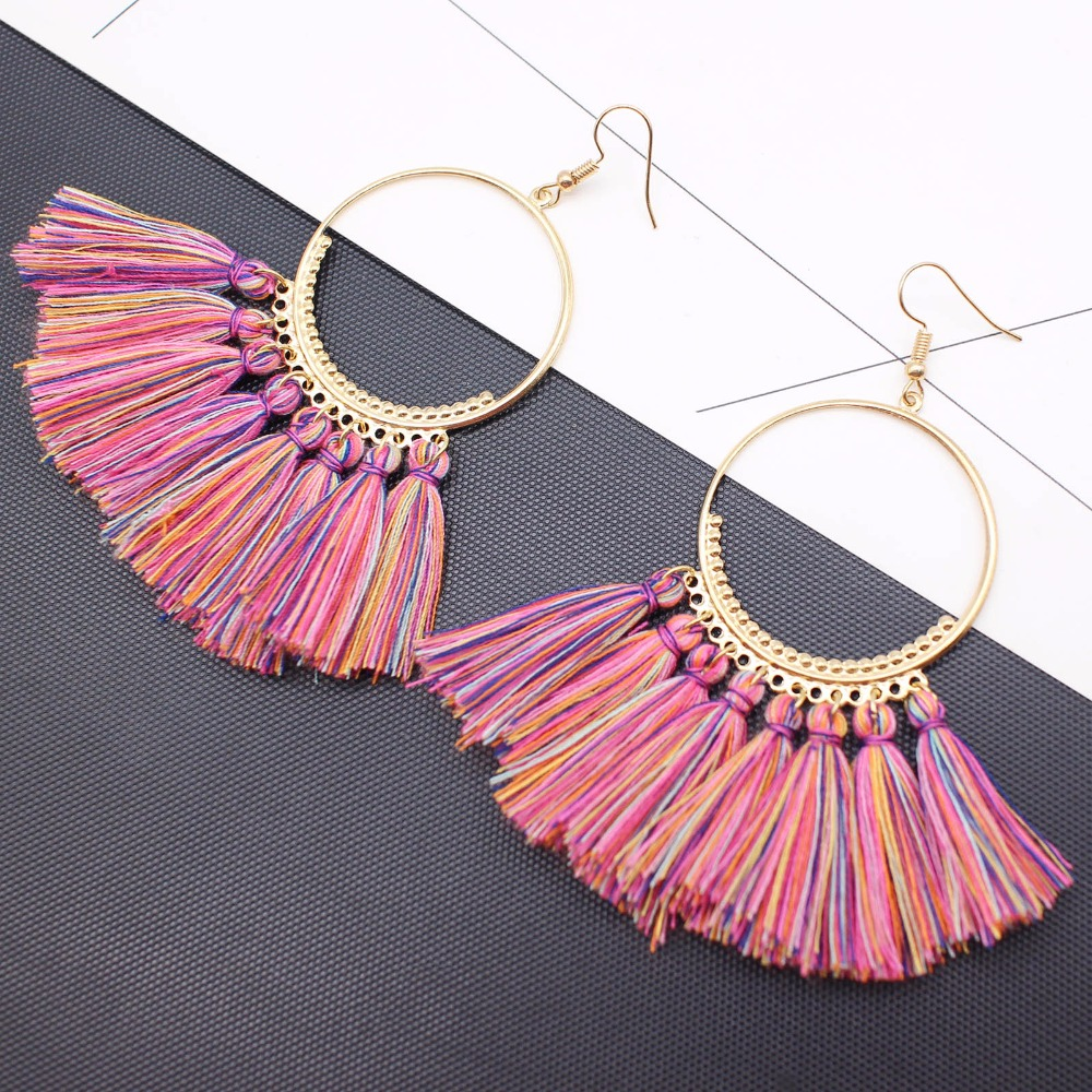 19 Colors round dangling pendant Drop earrings woman fabric tassel earring ethnic bohemian fantasy fringed boucles d'oreille 7