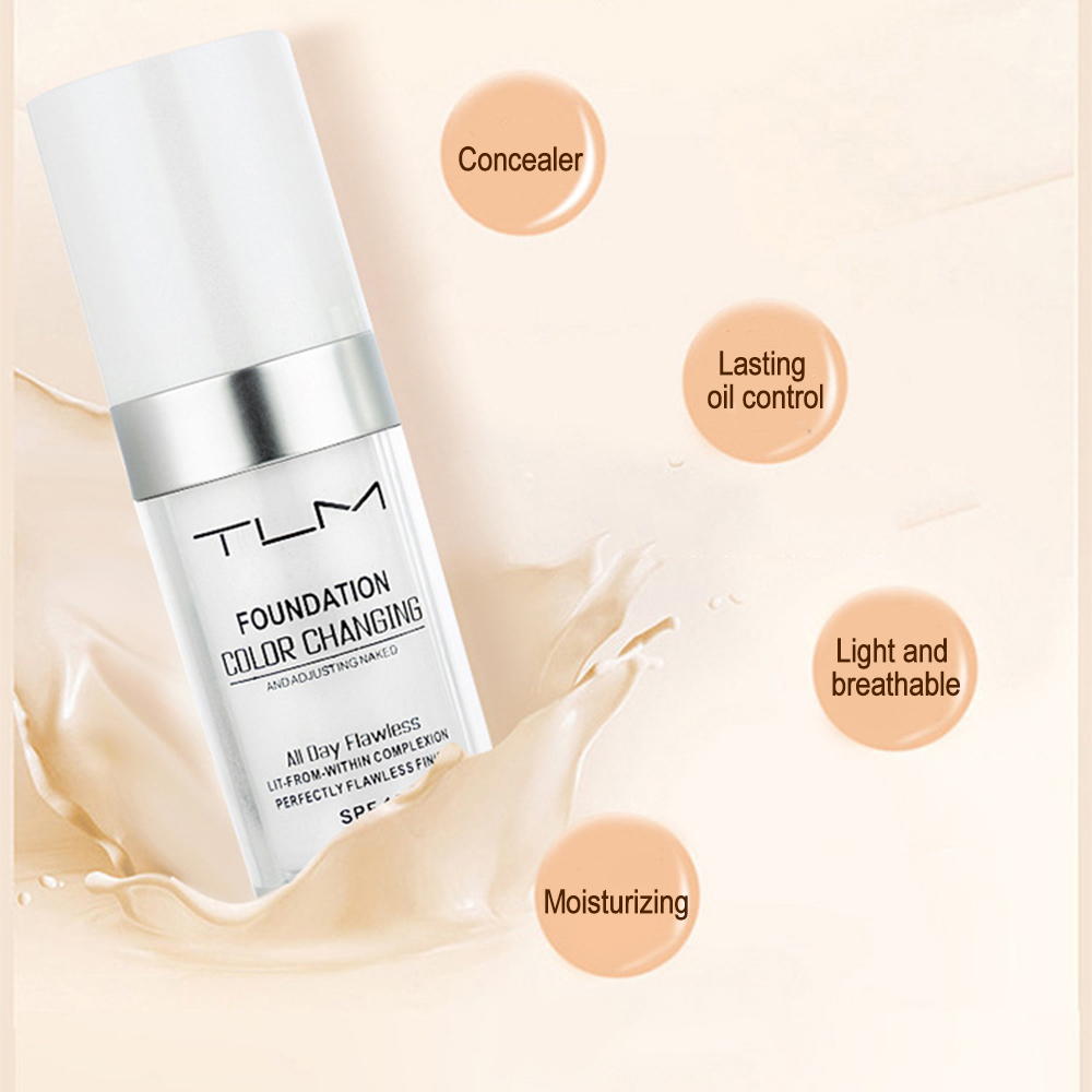 30ml TLM Color Changing Liquid Foundation Concealer Longlasting Perfect Makeup Change To Your Skin Tone By Blending TSLM2