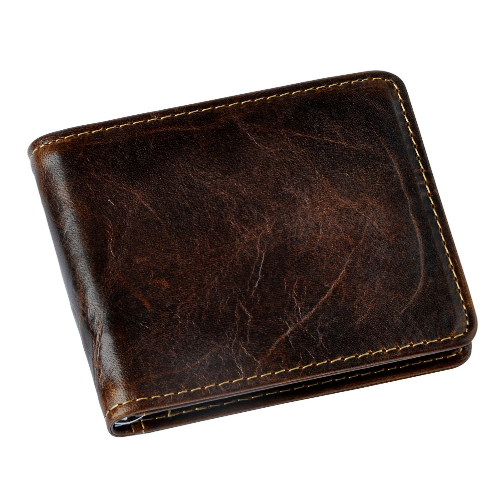 Quality Male Genuine Leather Design Fashion  Slim Wallet Front Pocket Money Clip Mini Bill Purse For Men 1055-c