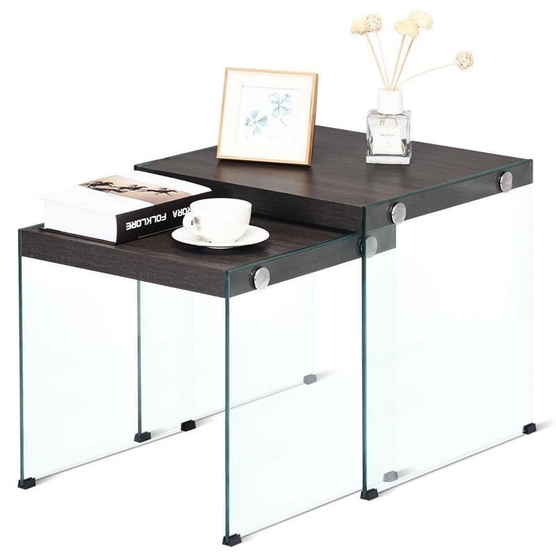 2 pcs Soho Nesten Salontafel Stapelbaar Glas Zijdige Tafel P2 Niveau MDF en Gehard Glas Materiaal Twee stuk ontwerp HW59450 - 3