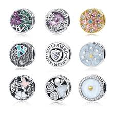 2017 Fit Original Pandora Charm Bracelet 100% 925 Sterling Silver Beautiful Round Shape Bead Charm High Quality DIY Jewelry Gift