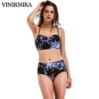 VINIKNIKA Women S Fashion Printing Bikini Set Sexy High Waist Cross Straps Push Up Bikini Vintage