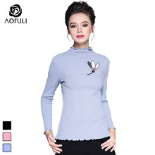 a9d336e957 S- XL XXL Embroidered Knitwear Autumn Long Sleeve Pullovers 2018 Brand  Ruffles Collar Knitted Tops Plus Size Thin Sweater 6222