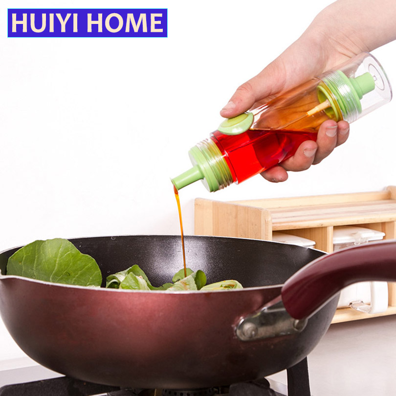 Huiyi Home 2-In-1 Kitchen Oil Bottle 3 Colors Plastic Oiler Storage Jar For Seasoning Soy Sauce Jars Barbecue EGH008