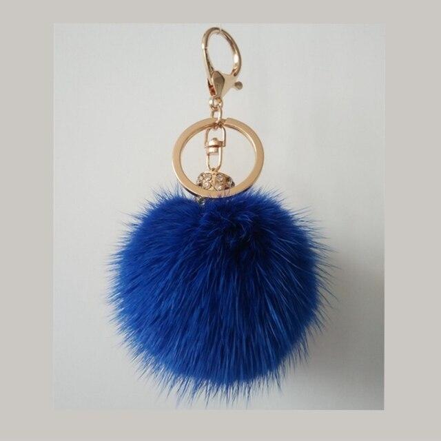 100% Real mink bola llaveros unisex de moda anillo de oro azul gris ronda paquete de coches llavero Colgante llavero de piel de las mujeres
