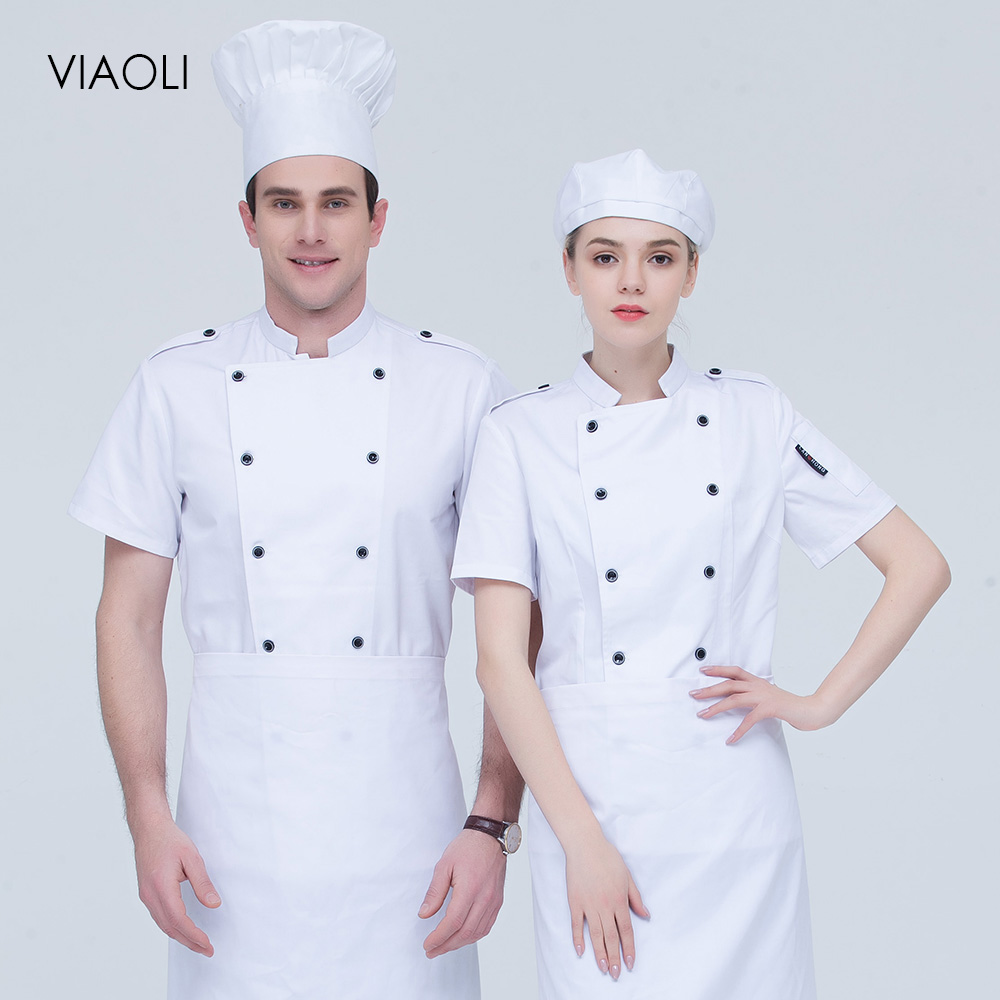 Short Sleeve Chef Jackets High Quality Double Breasted Chef Uniforms Restaurant Catering Bakery Cake Coffee Shop Cooking Clothes