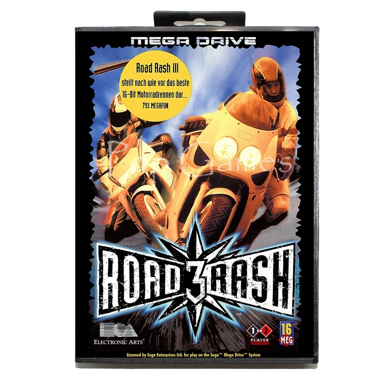 Road Rash 3 with Box for 16 bit Sega MD Game Card for Mega Drive for Genesis Video Console