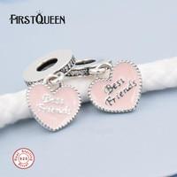 FirstQueen Best Friends, Soft Pink Enamel & Clear CZ Dangle Charm Fit Pulseira Berloque DIY Pendant Fine Jewelry