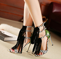 2015 New Summer style womens sexy high heels Tassel Buckle Peep toe stiletto sandals ladies Pumps Party Shoes Black with Green