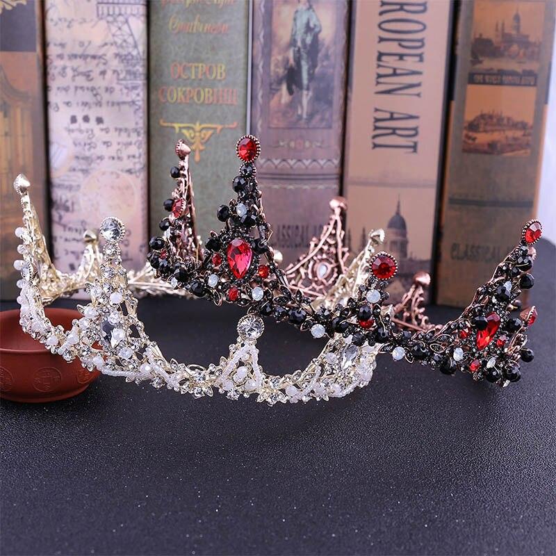 Vintage Silver/Gold/Red Crystal Rhinestones Handmade Beaded Big Bride Tiaras Crown Headpiece Wedding Hair Jewelry Accessories LB