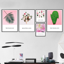 Palm Leaf Rose Cactus Ice Cream Flowers Nordic Posters And Prints Wall Art Canvas Painting Pictures For Living Room Decor