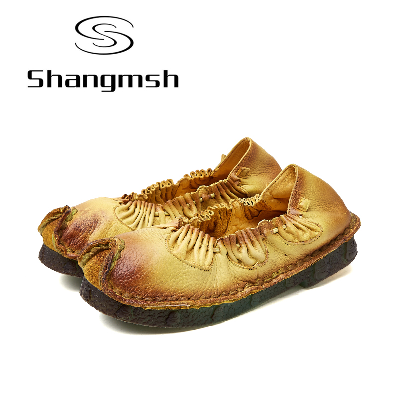 Shangmsh Women Flats Genuine Leather Shoes Brand Fashion Handmade Shoe Casual 2017 Loafers Designer New Female Autumn Shoes 2016 new ggdb women shoes golden goose super star casual shoes genuine leather gold men women sport flats low cut shoe