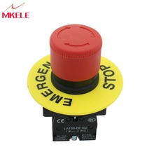 цена на Emergency Stop Push Button Switch Self Locking Silver Alloy Contacts Mushroom With Red top High Quality Top Selling China
