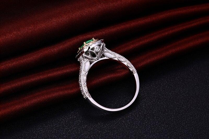 Antik 14ct Multi-Tone Emas 1.08ctw Natural Emerald H SI Berlian - Perhiasan bagus - Foto 4