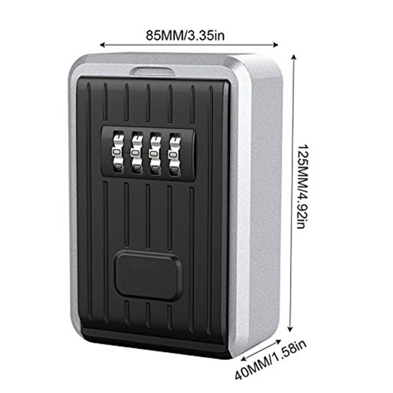 Lock Box 4 Digit Combination Waterproof Box Aluminum Alloy Weather Resistant Key Hider With Resettable Code Key Storage Wall M