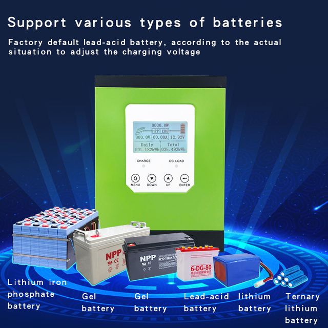 mppt solar charge controller 20a 30a 40a 50a 60a solar panel regulator 12V 24V 48V96 LCD auto lithium-ion battery lead-acid cell 3