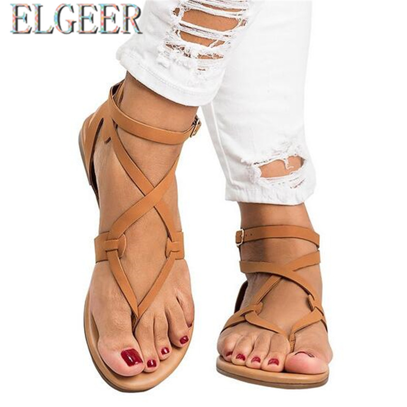 2018 musim panas baru tipis dengan sandal datar perempuan datar - Sepatu Wanita - Foto 2