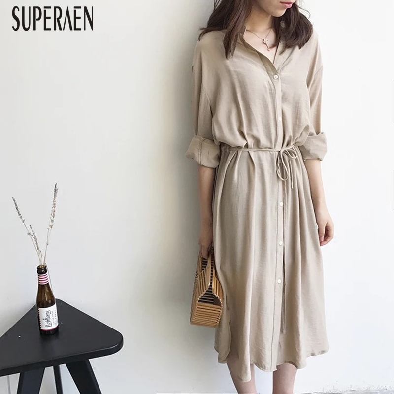 SuperAen Cotton <font><b>Linen</b></font> Women <font><b>Dress</b></font> Summer New 2018 Solid Color Fashion Ladies <font><b>Dress</b></font> Long Sleeve Loose Wild Korean Style <font><b>Dresses</b></font>