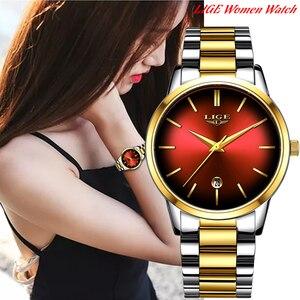 Image 5 - LIGE reloj de cuarzo para mujer, de acero inoxidable, resistente al agua, femenino